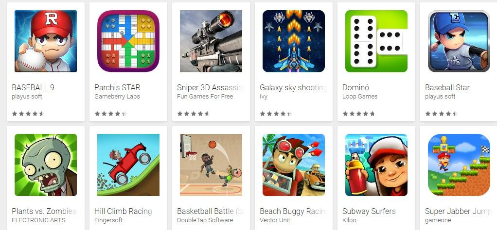 Ejemplos de iconos en google play store