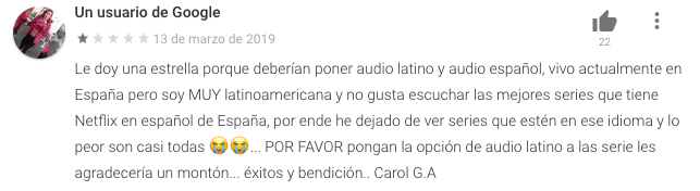 Un ejemplo de un comentario negativo en App Netflix
