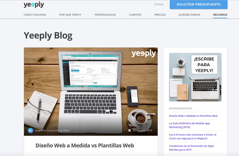 Ejemplo de contenido blog de Yeeply