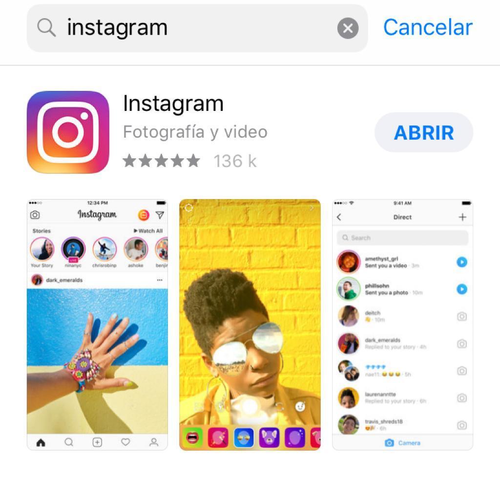 Un buen ejemplo es Instagram en App Store