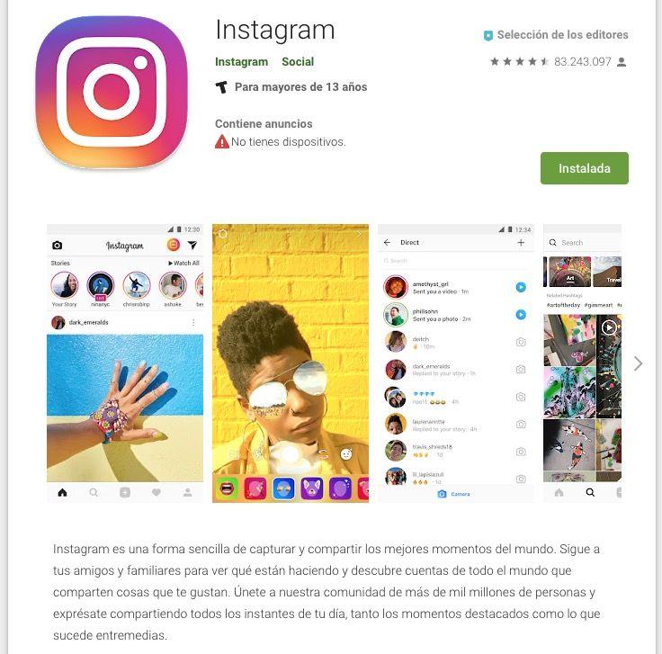 Ejemplo de la descripción de Instagram en Google Play