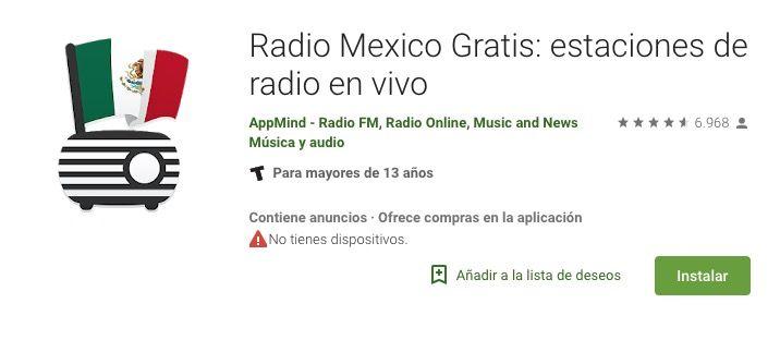 Ejemplo de una App de Radios de Mexico