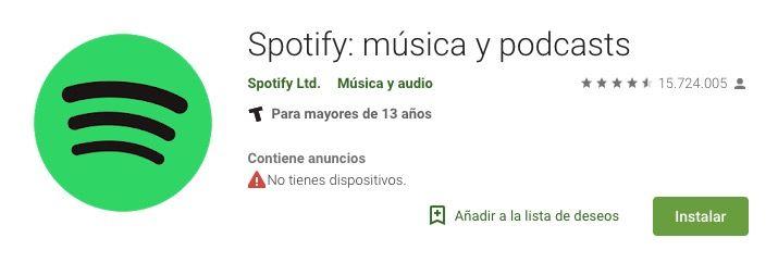 Ejemplo palabras clave en el titulo de la App Spotify