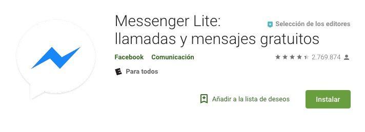 Ejemplo de la App messenger lite en españa