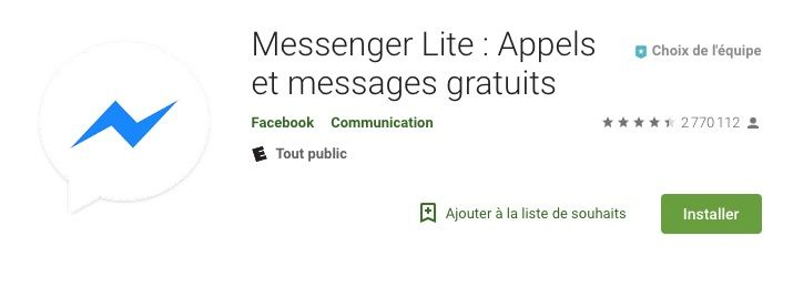 Ejemplo de la App messenger lite en Francia