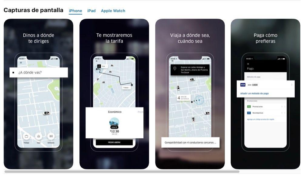 Ejemplo de capturas de pantallas de Uber en app store