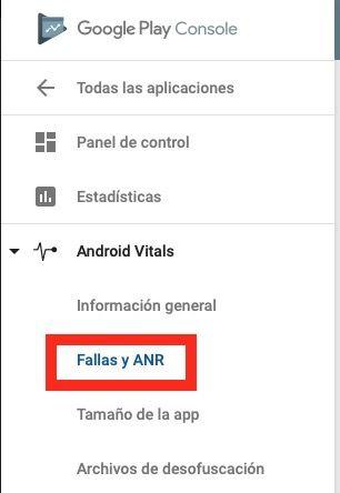 Ver fallas en Android Vitals