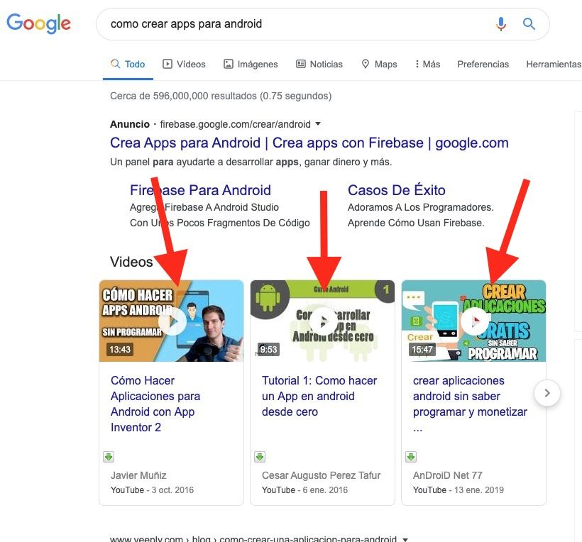 carruseles de vídeo en google